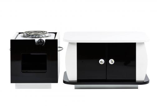 Set aus Tisch + Tisch + Hot Plate - schwarz/weiß